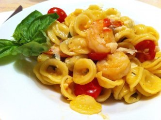 Pan seared Shrimp with pasta