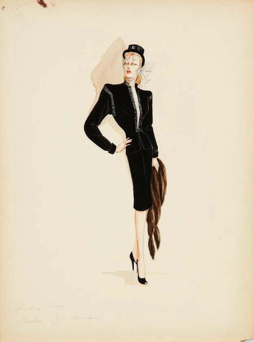 "Milo Anderson's costume Sketch from ""Shadow of a Woman"" for Andrea King. Warner Bros., 1945."