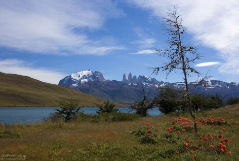 Лагуна Azul и три башни дель Пайне на заднем плане.