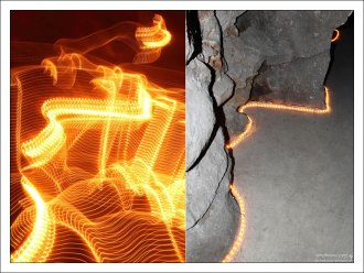"""""""Нить Ариадны"""" в туннеле, ведущем к Колодцу Посвящения. (Слева ошибочное, но забавное фото без вспышки :) Кинта да Регалейра."""