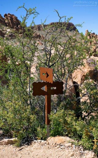 Указатель на тропе Grapevine Hills Trail.