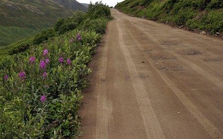 Не асфальтированная часть перевала Hatcher Pass.