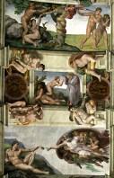 Фрагмент потолка в Сикстинской капелле. Снизу вверх: создание Адама; создание Евы; изгнание Адама и Евы из рая.