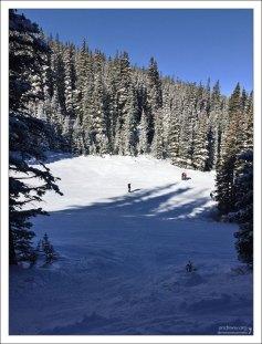 Свежевыпавший снег и спуск через лес.