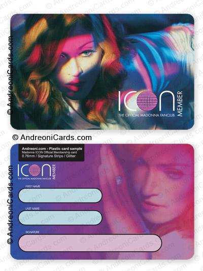 Plastic fan club card design sample Madonna ICON Official fanclub - club card design