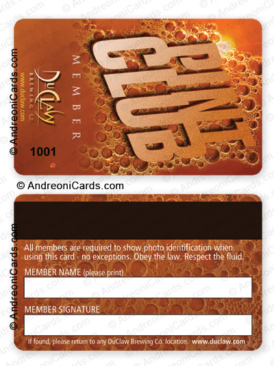 Plastic membership card design sample Pint club