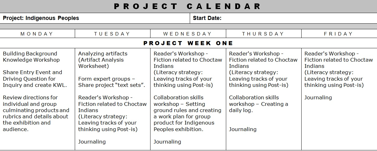 Summer PD How to Build a Calendar for Project-Based Learning - rubrics for project based learning