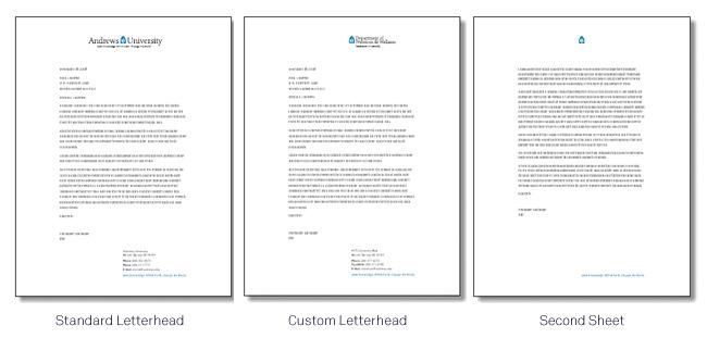 Letterhead  Andrews University - a letter head
