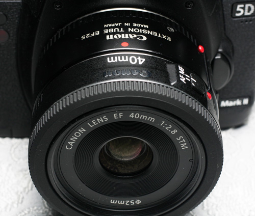 EF 40mm f2.8 STM pancake lens with EF 25 extension tube