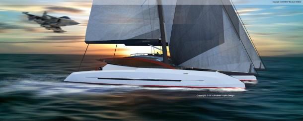 Twin Mast Catamaran. 35M.