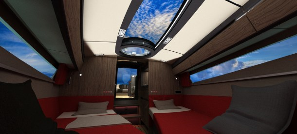 Cabin view Aft -Twin layout.