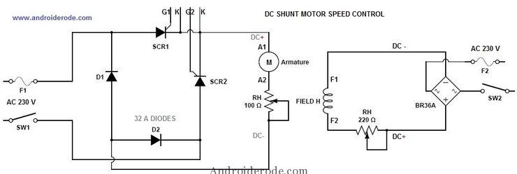 dc shunt motor speed control circuit diagram