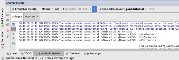 Android te JSON Veriyle Çalışmak - LogCat 2