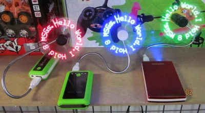 Colorful USB LED Message Fan For Android - Red, Green, Blue