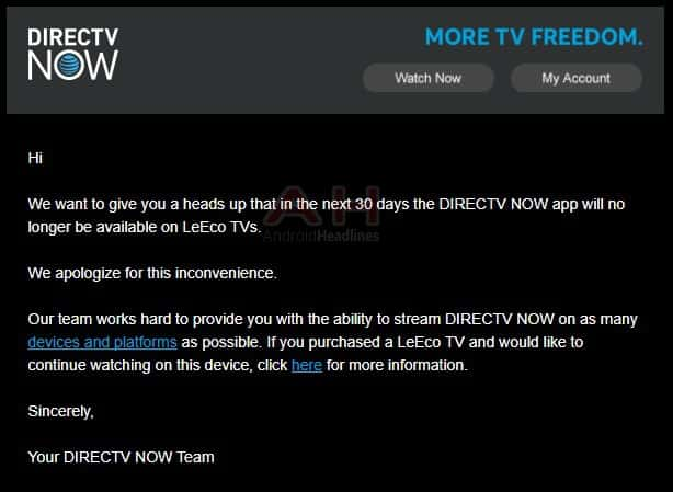 DIRECTV NOW Ending Android TV App Support For LeEco TVs Android News