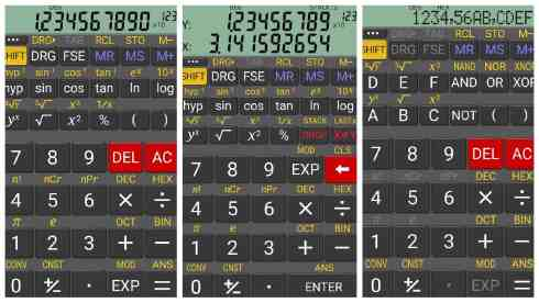 RealCalc Scientific Calculator app grid