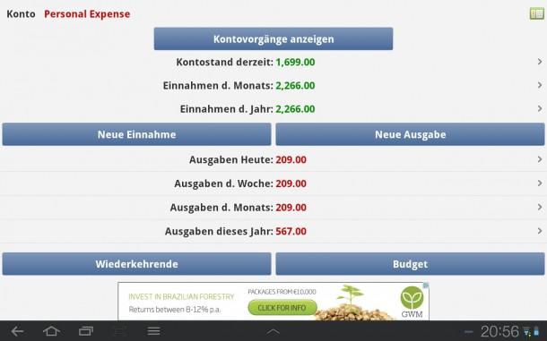 Einnahmen und Ausgaben lassen sich nach Woche, Monat und Jahr zusammenfassen.