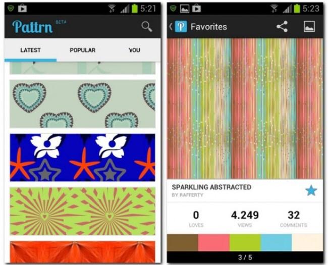 Pattrn bietet eine große Auswahl an grafischen Mustern für den Bildschirm-Hintergrund. Einfaches und schnelles Einstellen und Teilen bringen den entsprechenden Mehrwert.