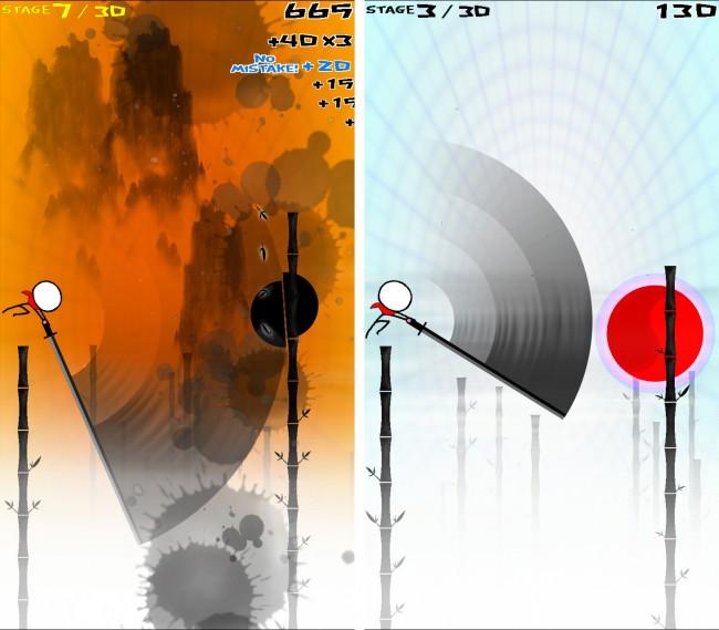 Bei Slash Hero gilt es, von Stock zu Stock zu springen und Energiekreise zu zerteilen.
