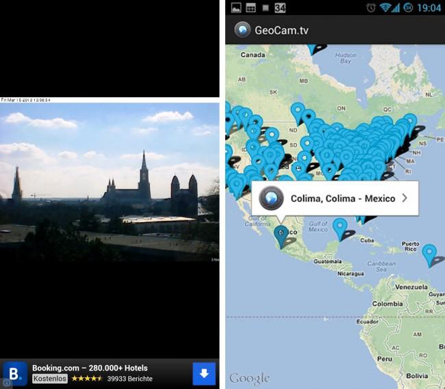Wer einen Sommer-Urlaub im Ausland plant oder im Winter in ein Skigebiet fahren möchte, kann sich mit dieser App die vorherrschenden Wetterbedingungen live ansehen und aufgrund der Bilder leichter entscheiden, ob sich ein Ausflug dorthin lohnt.
