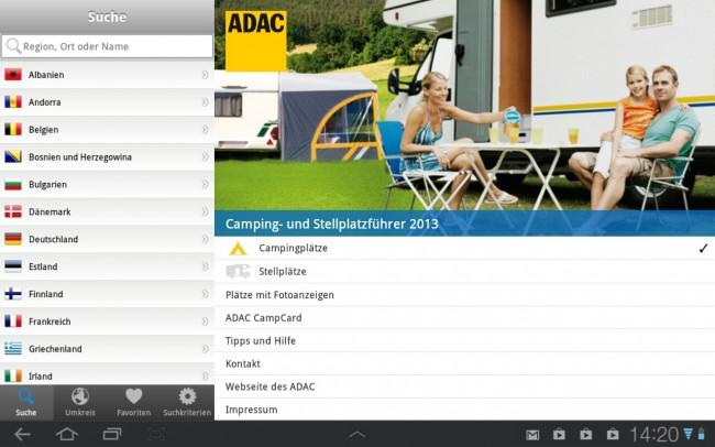 Informationen zu 5.400 Campingplätze und 4.200 Stellplätze listet die App sehr übersichtlich nach Land sortiert auf.