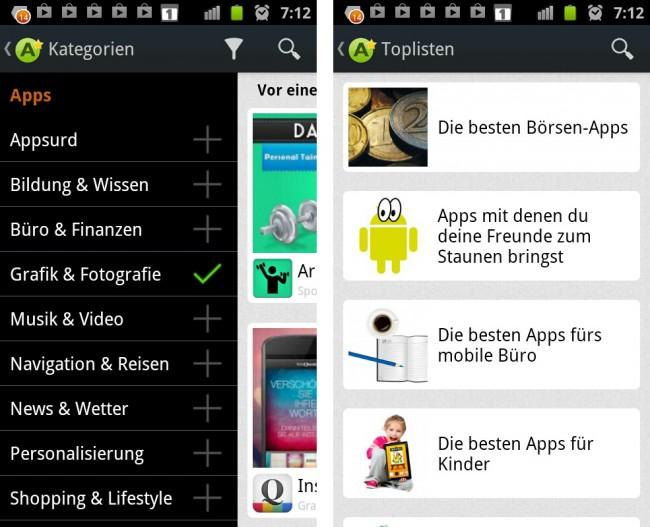 Die App-Beschreibungen lassen sich komfortable nach Kategorien filtern. In den Toplisten findet man dei besten Apps zu einem bestimmten Thema.