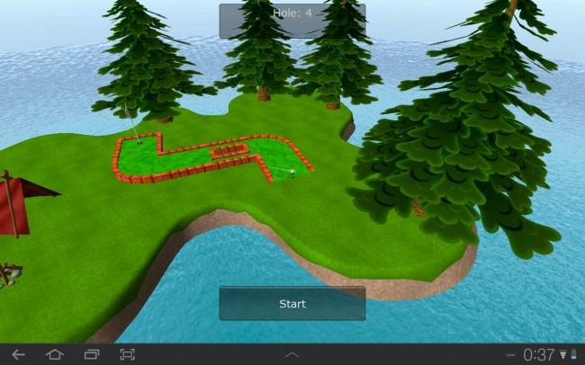 Du spielst 18 Löcher in einer netten 3D-Umgebung, die die Kameraführung für jeden Schlag so ändert, dass du Richtung Loch blickst.