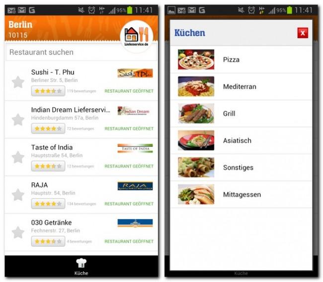 Die Restaurants filterst du nach Küche und Appetit...