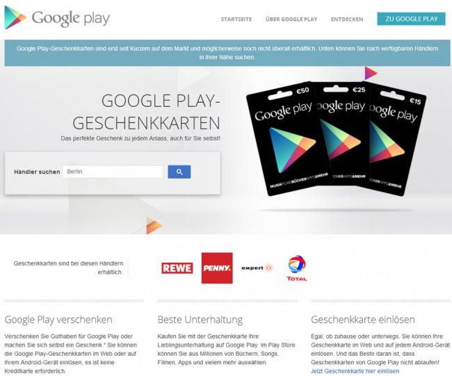 Mit der Verkaufsstellensuche von Google Play lässt sich die nächste Verkaufsstelle, die über entsprechende Gutscheinkarten verfügt schnell ausfindig machen.