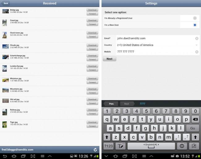 Mit der SendItz App hast du Zugriff auf einen riesigen Onlinespeicher von 1000 GB.