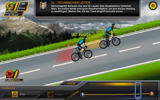 Deine Aufgabe beschränkt sich darauf, den Sportlern eine Strategie vorzugeben: In diesem Fall soll dein Bergfahrer dem Gegner auf den Fersen bleiben.