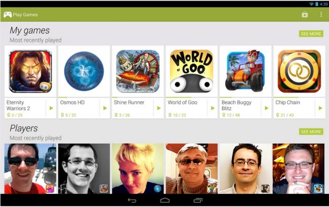 Die Oberfläche der neuen Google Play Games-App