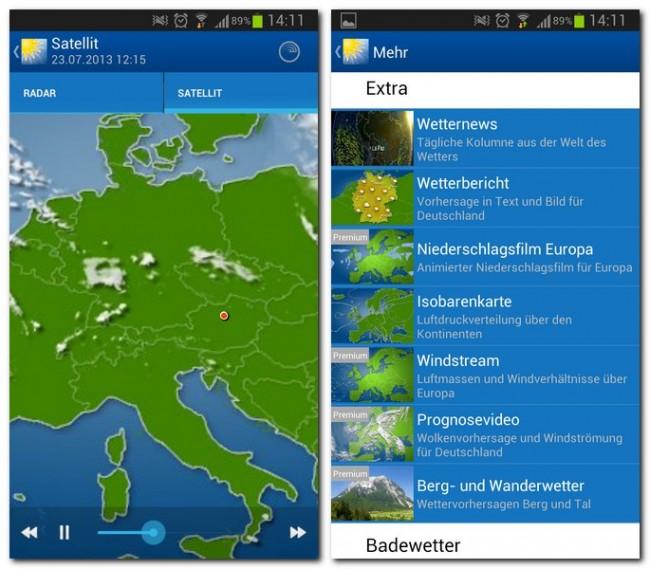 Animierte Satelliten- und Radarbilder, Wetternews, Prognosevideos oder eine Isobarenkarte - das Angebot ist vielfältig. Einige Funktionen sind allerdings den Pro-Nutzern vorbehalten.