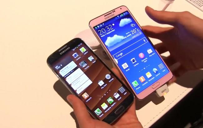 Das Samsung Galaxy Note 3 im Vergleich mit dem Galaxy S4. Foto: Youtube.