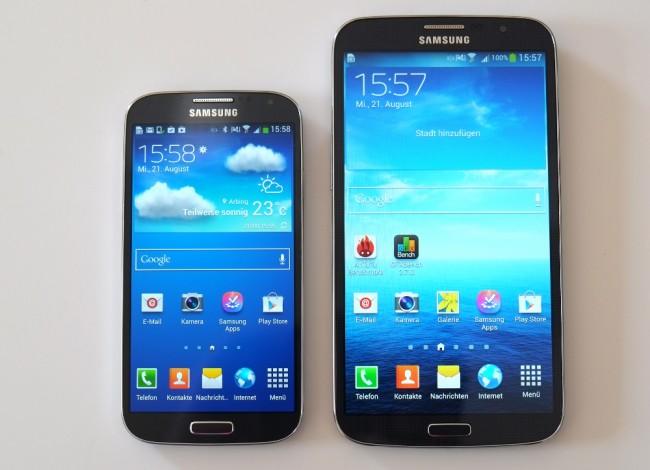 Ein dickes Ding: Mit dem Galaxy S4 (links) teilt sich das Galaxy Mega (rechts) zwar das Design, allerdings ist es deutlich größer ausgefallen.
