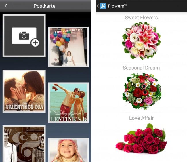 Sogar Postkarten oder Blumen kannst du über die App versenden.