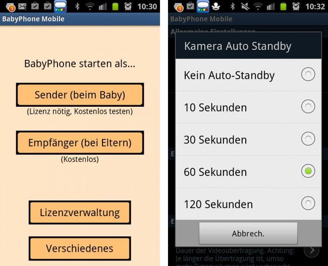 Zu Beginn muss das BabyPhone noch eingerichtet werden. Die Funktion Kamera Auto-Standby versetzt die Kamera-Vorschau nach angegebener Zeit in den Standby-Modus. Dies spart Strom.