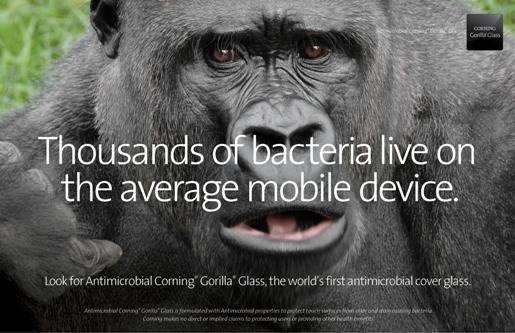 Tausende von Bakterien tummeln sich auf einem Smartphone. Corning bekämpft sie (Foto: Corning)