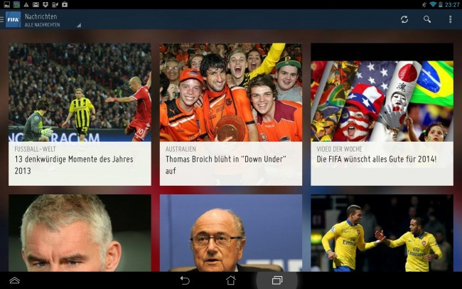 Die App zeigt alle aktuellen Nachrichten an.