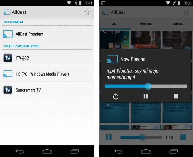 Mit der App AllCast kannst du Fotos und Videos von deinem Smartphone aus auf Fernsehgeräten anzeigen. Das Programm unterstützt sowohl Dateien im Speicher des Smartphones als auch Dateien, die in Online-Speicherdiensten abgelegt sind.