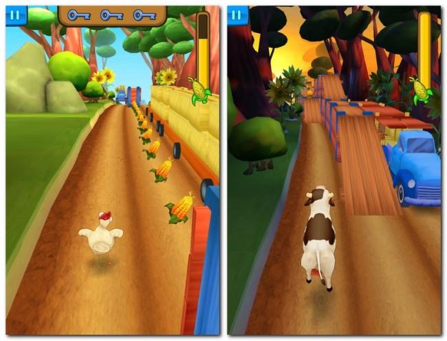 Im Spiel Animal Escape steuerst du Hühner und Kühe, die auf der Flucht vor einem wütenden Bauern Hindernissen ausweichen und Maiskolben aufsammeln müssen.