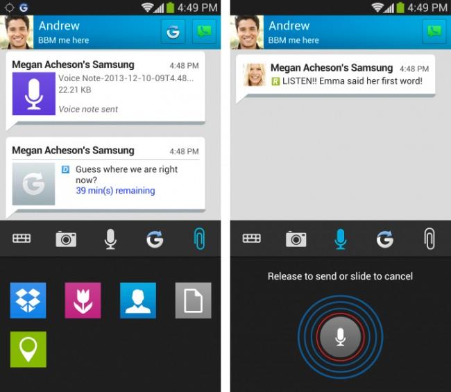 Du kannst nun verschiedene Dateien verschicken und sogar direkt in die Dropbox abspeichern. (Foto: BlackBerry)