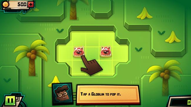 Durch Antippen der Globlins bringst du diese zum Platzen. Ist kein Globlin mehr am Spielfeld zu sehen, ist der Level gewonnen.