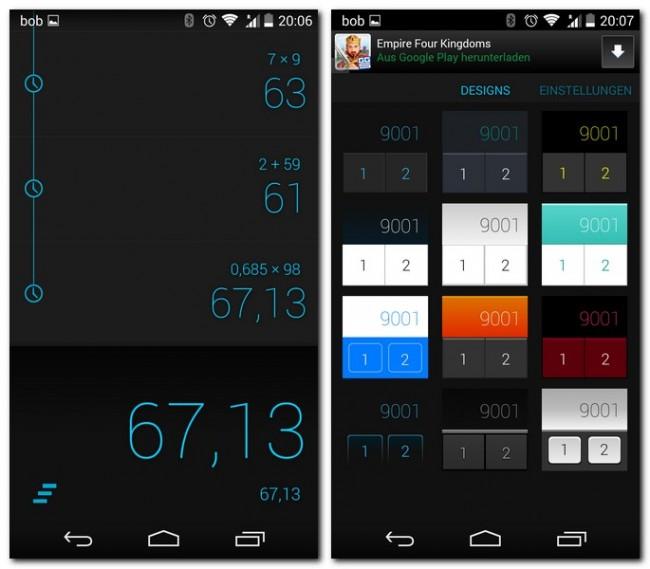 Die App gibt sich schlicht, aber das ist gewollt und durchaus kein Nachteil. Wem das vorgegebene Design nicht gefällt, der hat die Wahl zwischen zwölf weiteren stylishen Designs.