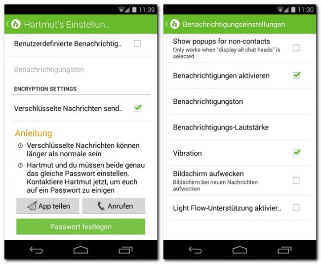 HoverChat Free kann SMS-Nachrichten verschlüsseln, um neugierigen Organisationen den Zugriff auf deine Kommunikation zu verwehren – oder zumindest zu erschweren.