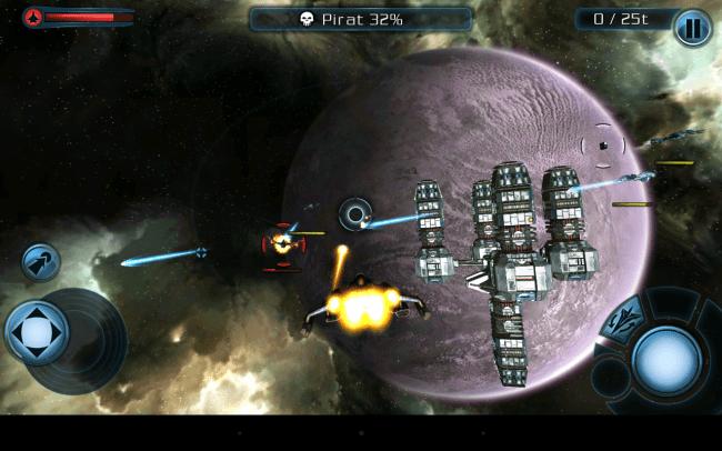 """Im kostenlosen Spiel """"Galaxy on Fire 2 HD"""" wechseln sich actionreiche Weltraumschlachten ab mit ruhigeren Szenen, in denen du Aufträge zu ergattern versuchst und die Bewaffnung deines Raumschiffs verbesserst."""