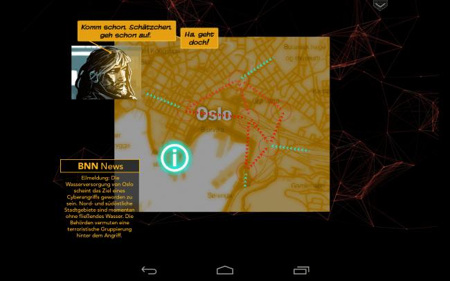 Die Hacker-Angriffe werden durch interaktive Elemente aufgelockert, so bekommt netwars auch spielerische Elemente spendiert.