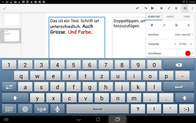 Die Möglichkeiten der mobilen Google Slides-Version sind eingeschränkt.