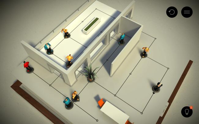 Blaue Gegner bleiben in ihrer Position, gelbe Gegner folgen patrouillieren umher und die rote Spielfigur muss in diesem Level ausgeschaltet werden.