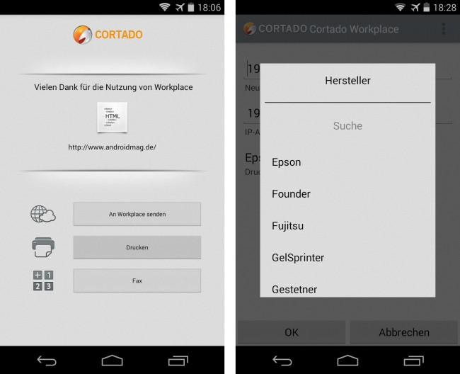 Cortado Workplace ermöglicht es dir auch, vom Smartphone Dateien auf Druckern auszugeben, die sich über WLAN oder über Bluetooth ansprechen lassen. Die kostenlose Software bietet Treiber für über 6000 Druckermodelle vieler Hersteller.